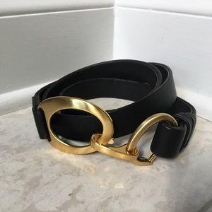 CHICOS black leather/gold adjustable belt 1X/2X